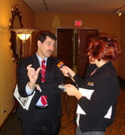 DEputy Chief Economist Dr. Robert A. Kleinhenz, California Assn. of Realtors interviews with Jodi Becker, KFI between delivering economic forecast on housing and real estate to 2009-2010 LAEDC Economic Forecast event at LA Marriott, Downtown.