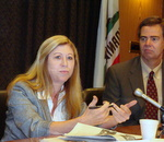 Reporter Kate Berry, American Banker and LA Times Business Ed. John Corrigan.
