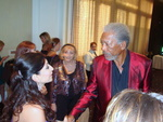 Janeen Mansour congratulates Morgan Freeman for his Lifetime Achievement Award at the Noble Awards reception.