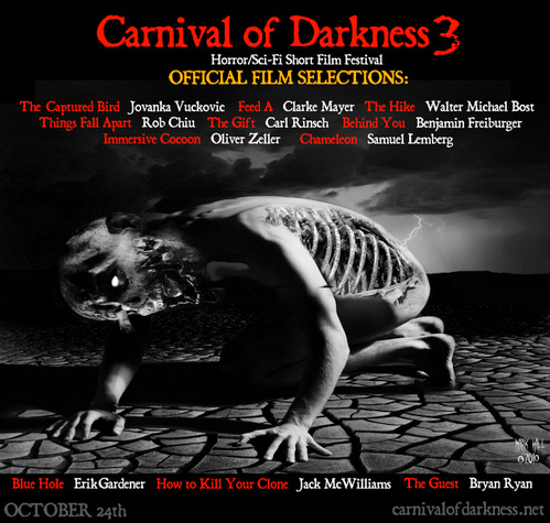 Post of winners at Carnival of Darkness Film Festival
