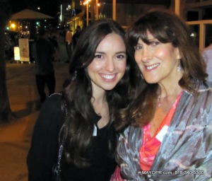 Elana Joelle Hendler and Aida Mayo, president MAYOCommunications.com attending the #SBYP mixer at MAKAI, Santa Monica.