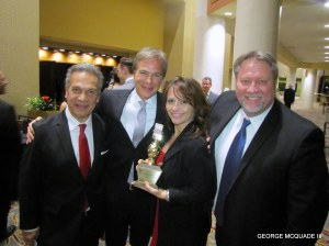 All smiles at KNBC TV where they tollk home several golden Mikes. Robert Kovick and Anchor Colleen Williams in the middle.